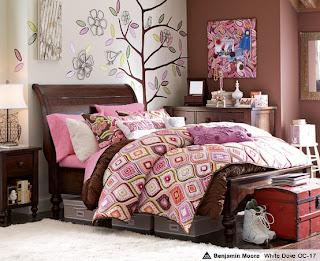 Dormitorio rosa y chocolate