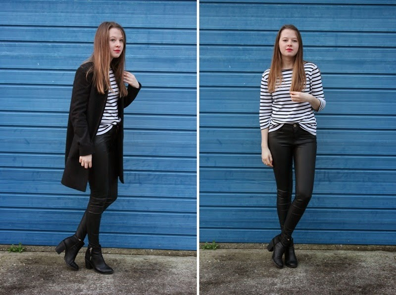 ootd, outfit of the day, outfit, fashion, blogger, fashion blogger, style, what i wore today, wwit, leather, stripes, boots, heels, cos, zara, river island, h&m, h&m divided, brunette, girl, lipstick, sephora, brighton, uk