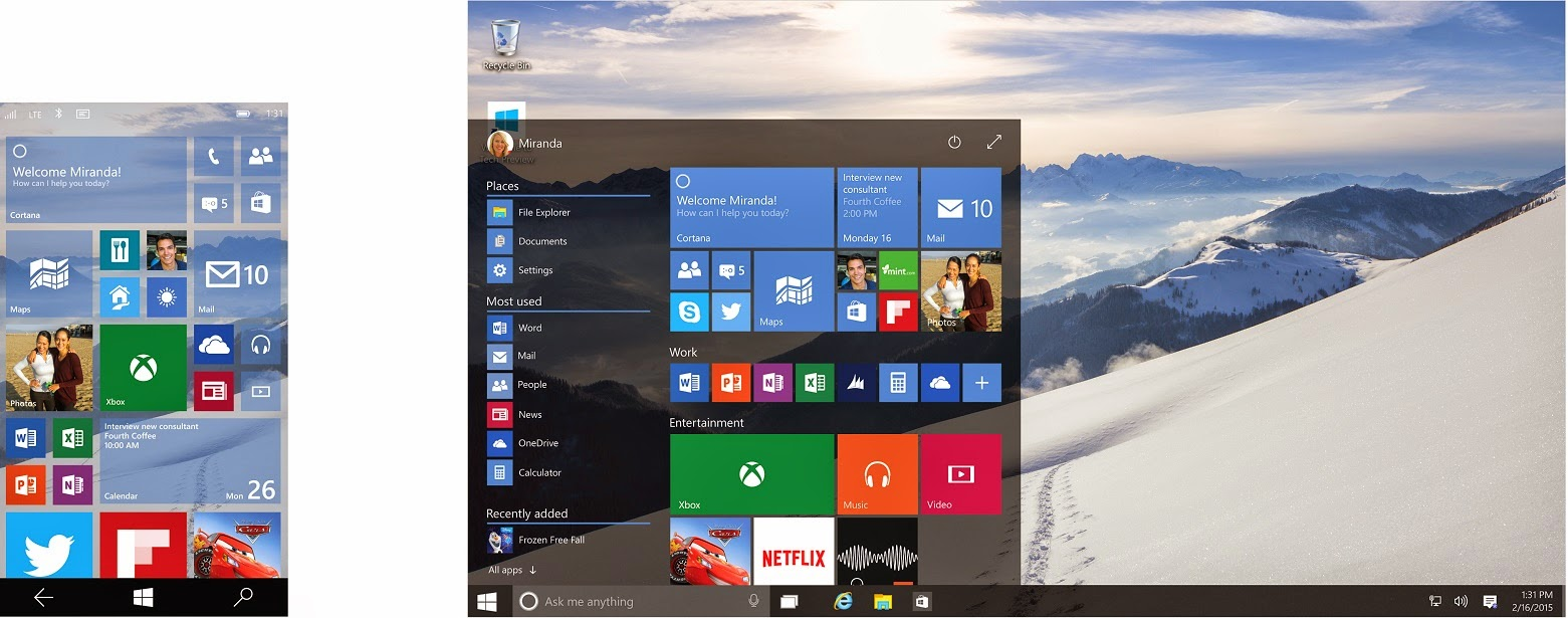 Windows 10 on PC and Phone