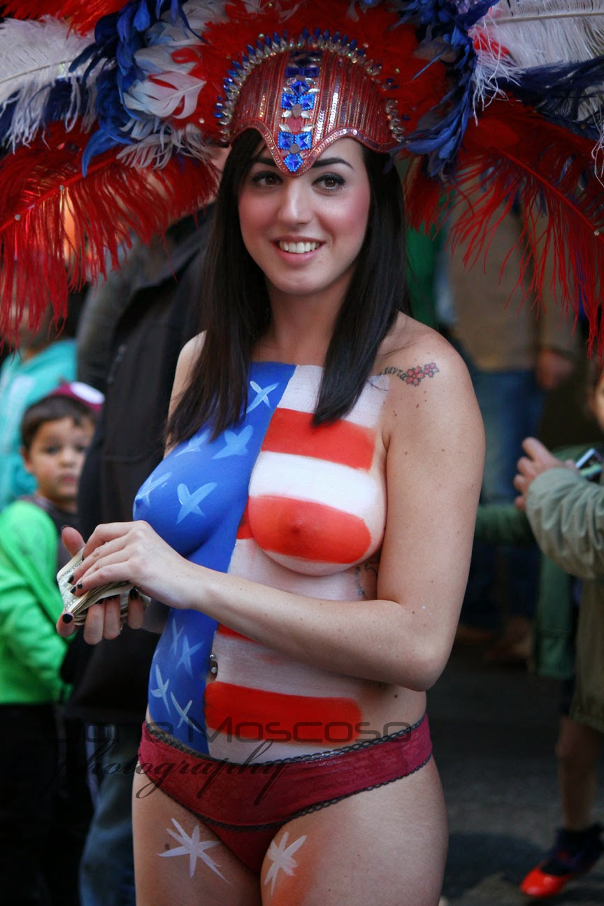 New York City body Art  Painting - american flag times
