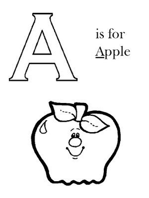 Letra A en ingles para colorear – Manzana para colorear ~ 4 Dibujo
