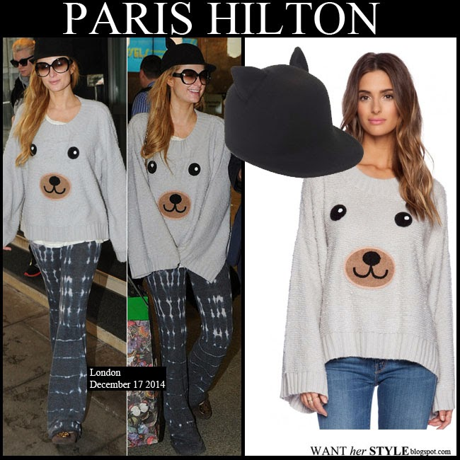 Paris Hilton in grey teddy bear knit Wildfox sweater with black cat ears hat by Helene Berman want her style December 17