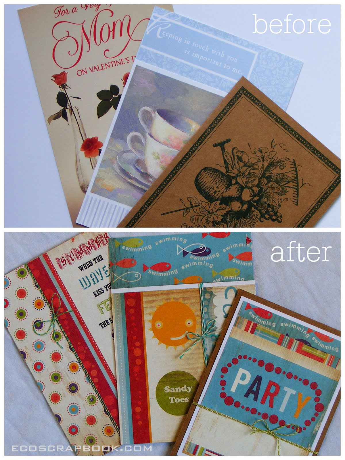 Recycle Old Greeting Cards Into Party Invitations Ecoscrapbook