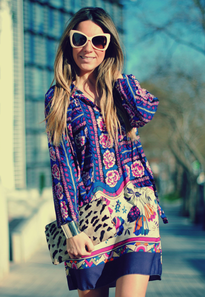 Printed dress by fashion blogger Mónica Sors