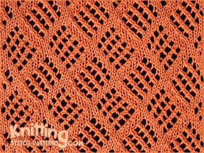 Mesh Lace Knitting Pattern : Checkerboard Mesh Knitting Stitch Patterns