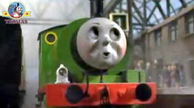 Sodor saddle tank Percy engine station platform with main line steam express Gordon the big engine