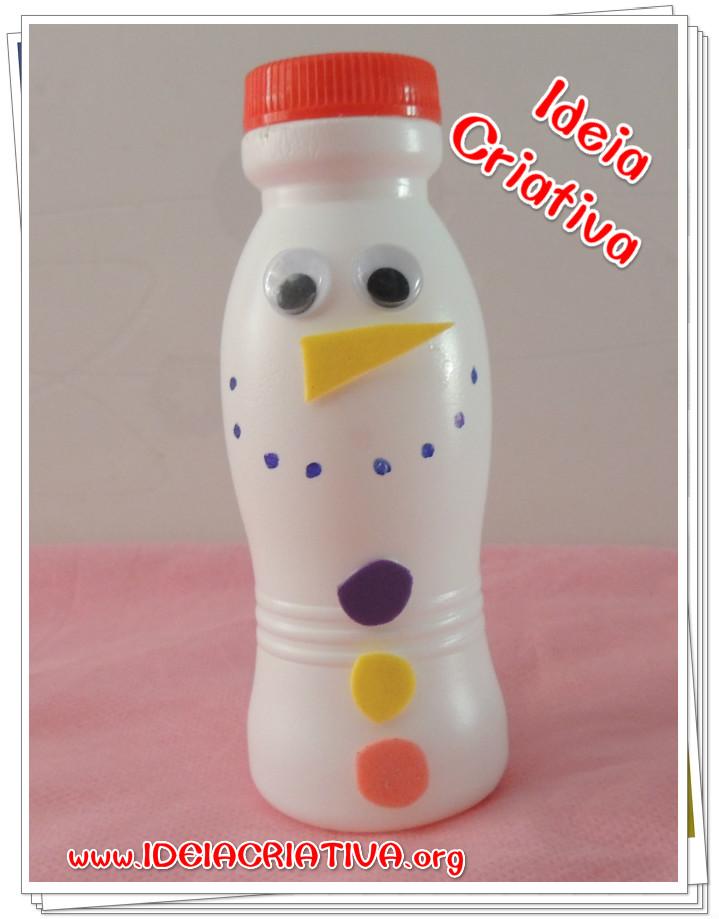 Boneco de Neve de Pote de Iogurte reciclagem Natalina