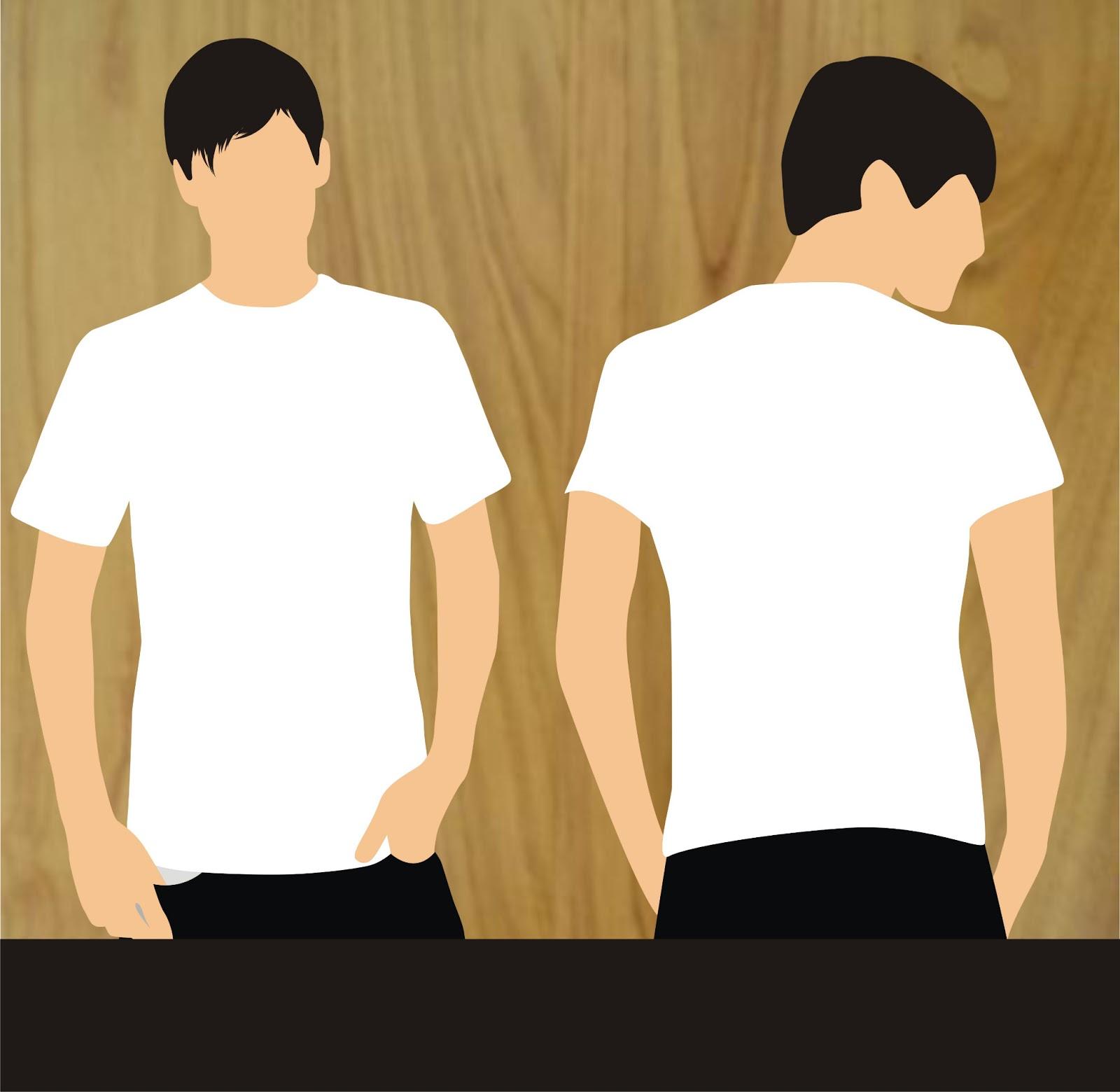 Kaos Polos Putih Gambar Biru Dongker Depan