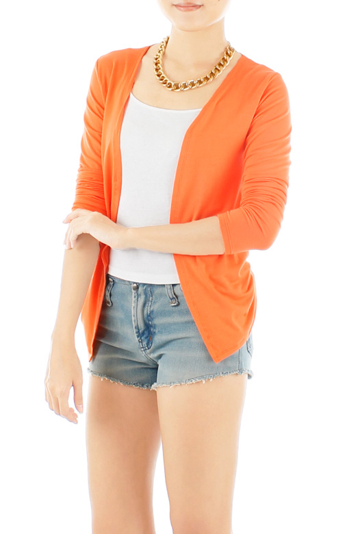 ESSENTIAL Open Cardigan With Pleat Drape Sides - Citrus Orange