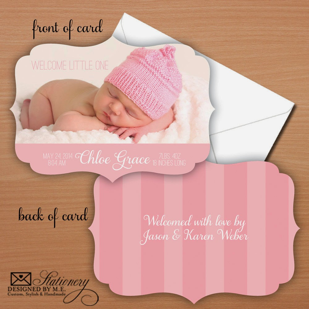 Die Cut Baby Announcement - you send your photo, pick colors, fonts & wording