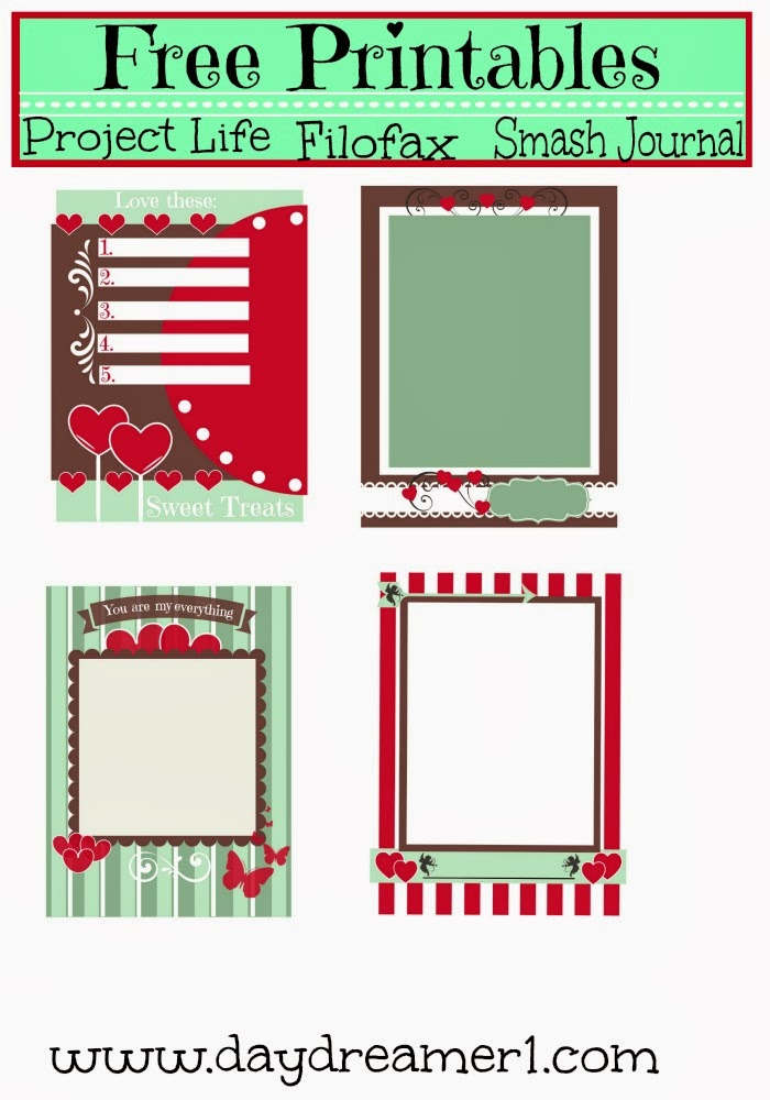 Free Printables-Filofax, Project Life, Smash Journal