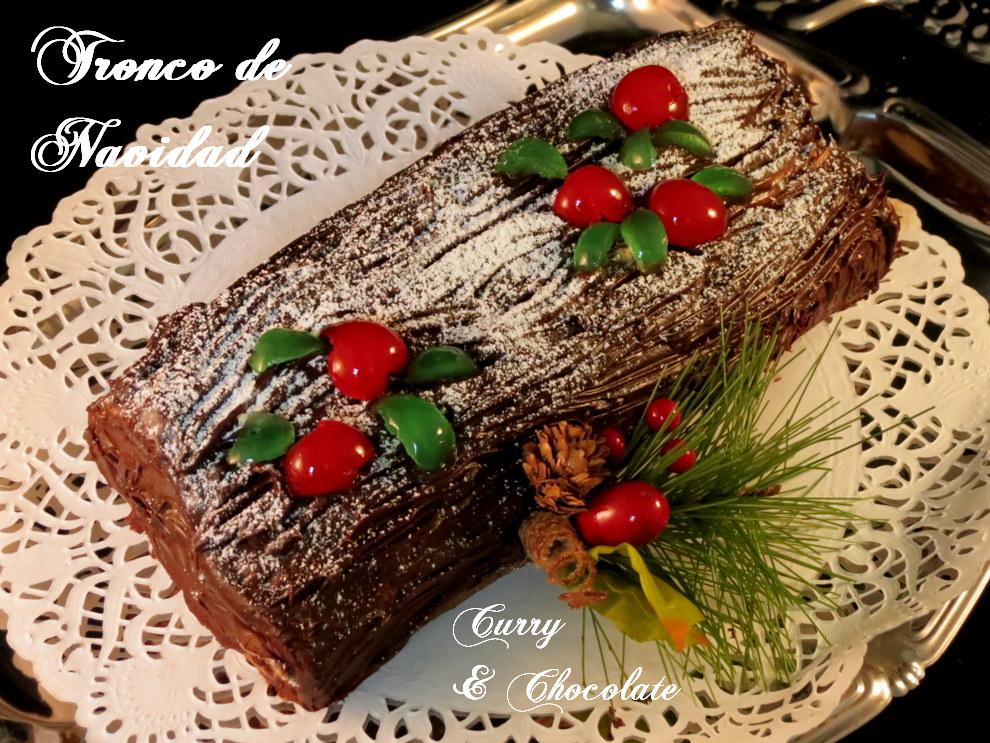 Tronco de Navidad con chocolate,café y dulce de leche