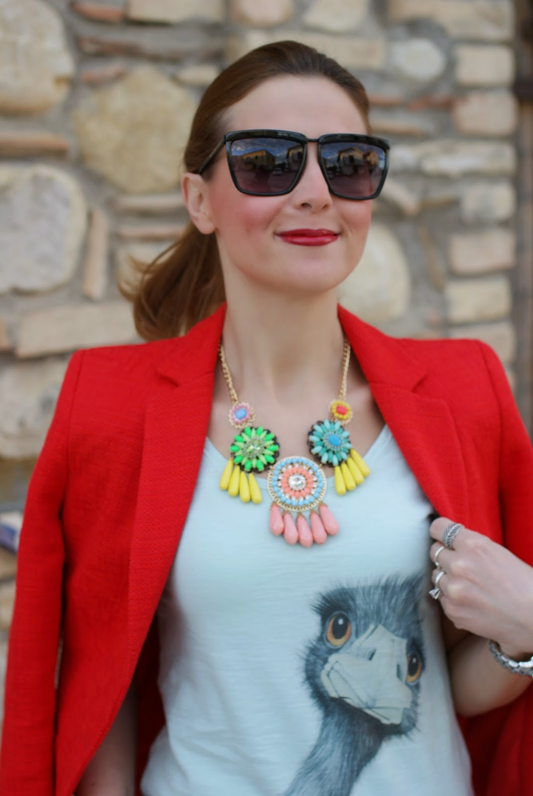 ostrich tee, sister & sister, zara blazer, today i'm me evening clutch, Fashion and Cookies, fashion blogger
