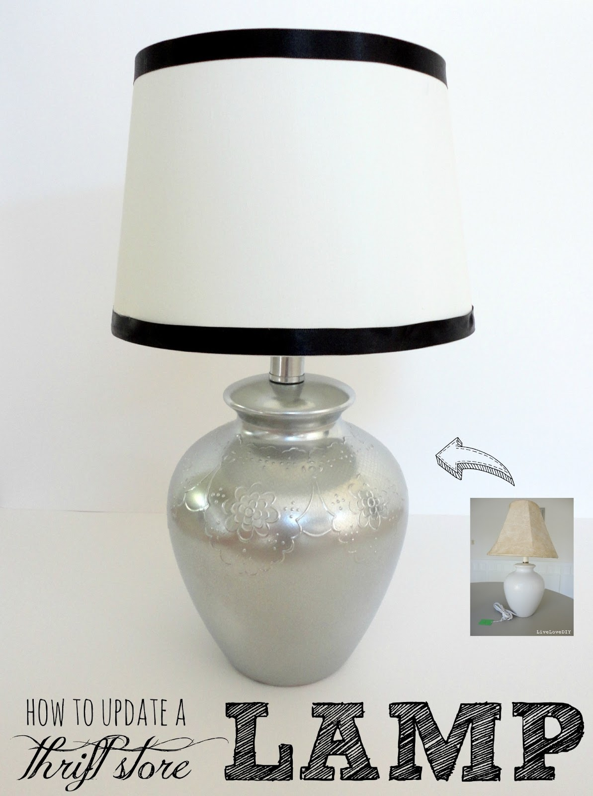 livelovediy how to update a thrift store lamp. Black Bedroom Furniture Sets. Home Design Ideas
