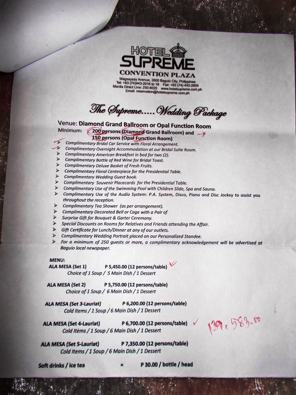 Supreme Hotel Menu List And Rates