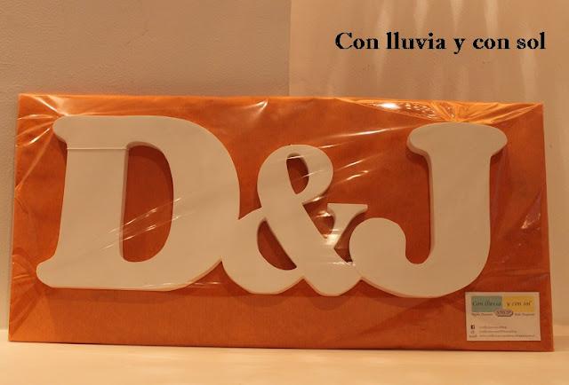 Con lluvia y con sol letras decorativas de madera d j enlazadas - Letras de madera decorativas ...