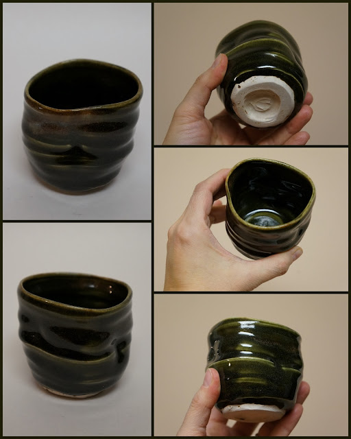 Pottery guinomi or whiskey or tea cup by Lily L.