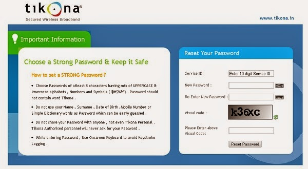 tikona password Reset page