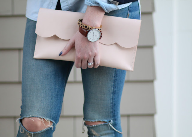 scalloped matine clutch