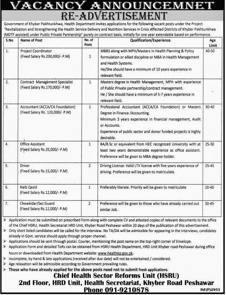 Jobs in Health Department Peshawar, KPK