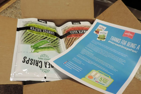 Harvest Snaps generously sent Oma all six varieties of Harvest Crisps & Snaps pouches to sample.  #HarvestSnapsFan