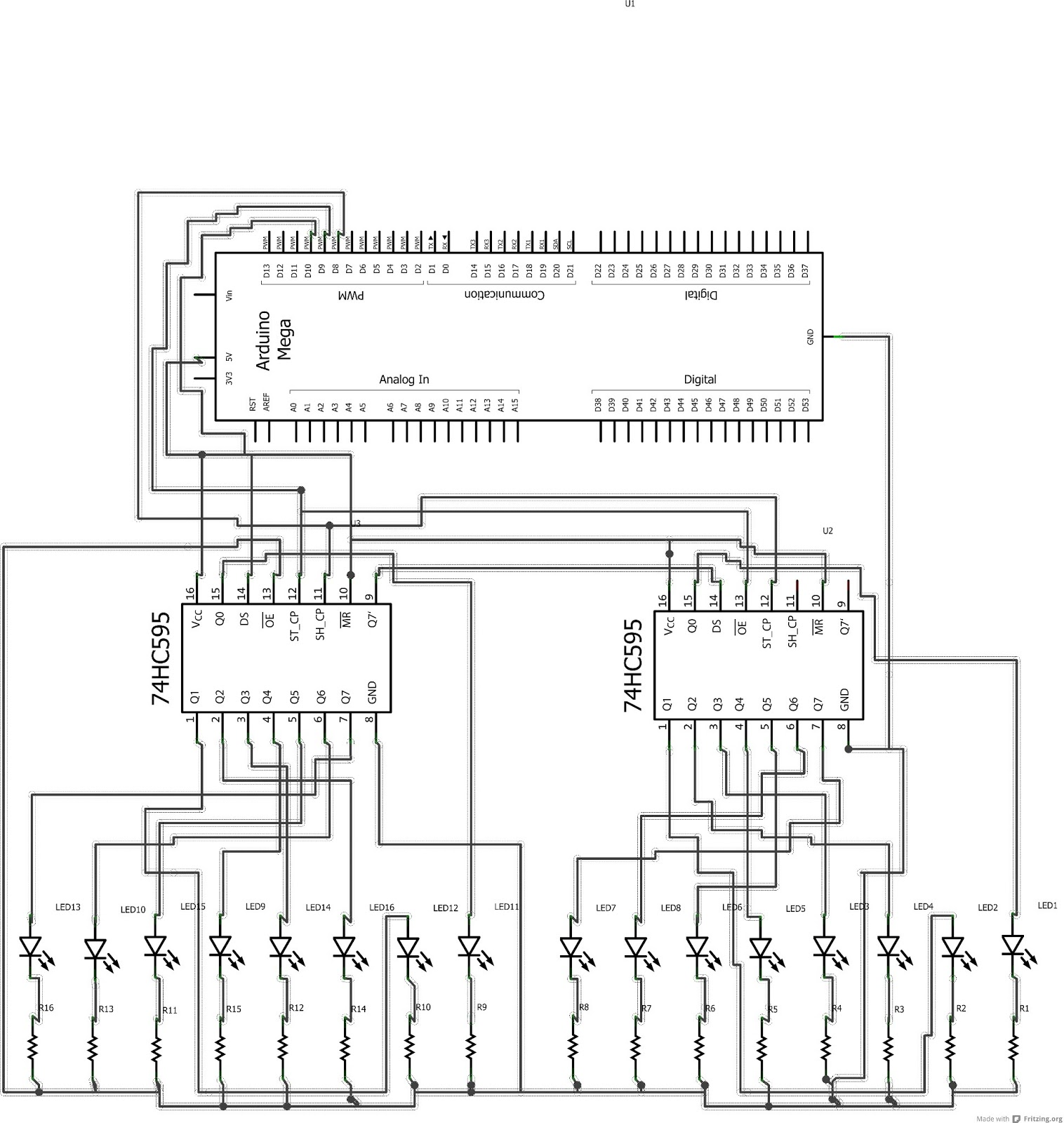 kid botz  2 shift registers on  arduino