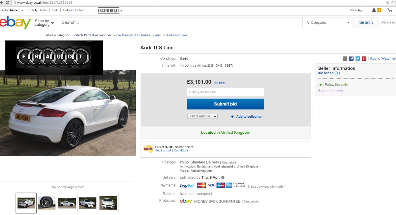 EBAY SCAM : Audi TT S LINE 2010 White   MIL 4359 Fraud MIL4359   04 ...