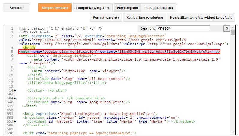 Cara mendaftarkan blog/ website di Google Webmaster 7