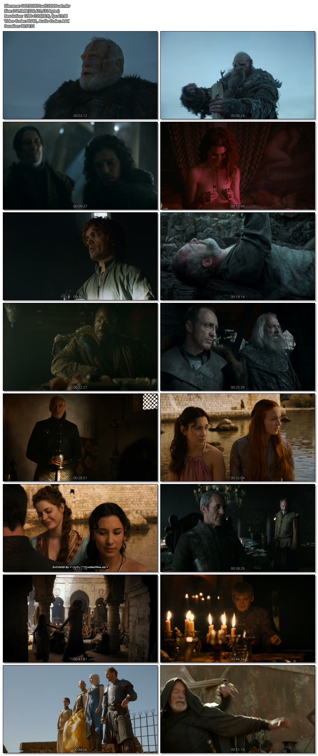 Screenshots Of Hindi Dubbed Show Game of Thrones 2013 Season 03 Episode 01 300MB 720P HD