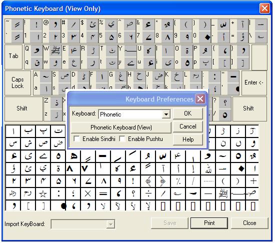 Inpage phonetic keyboard