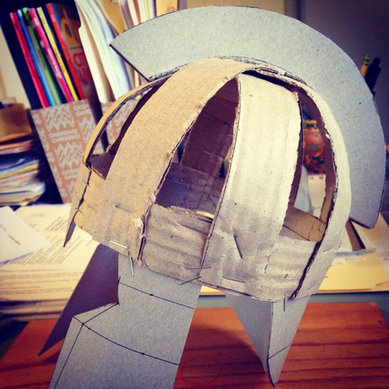 Lena sekine athenas helmet i constructed a frame using 1 strips of cardboard it really helps to bend the cut cardboard pieces a bit before using them i stapled the pieces together solutioingenieria Choice Image