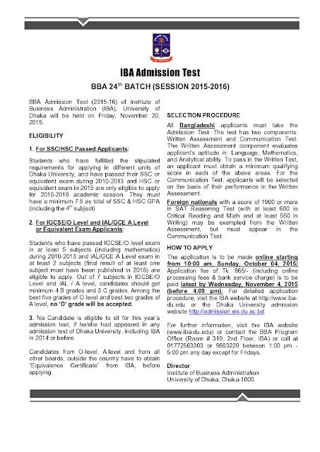 BBA Admission Test | University of Dhaka