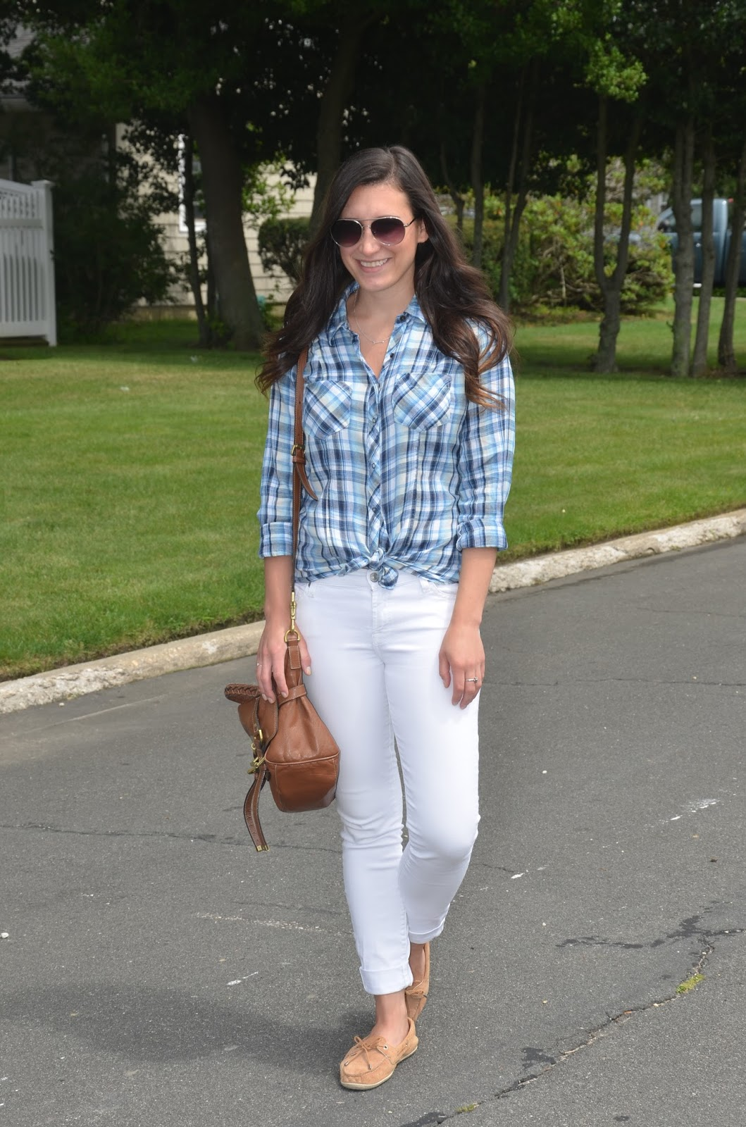 white denim + plaid