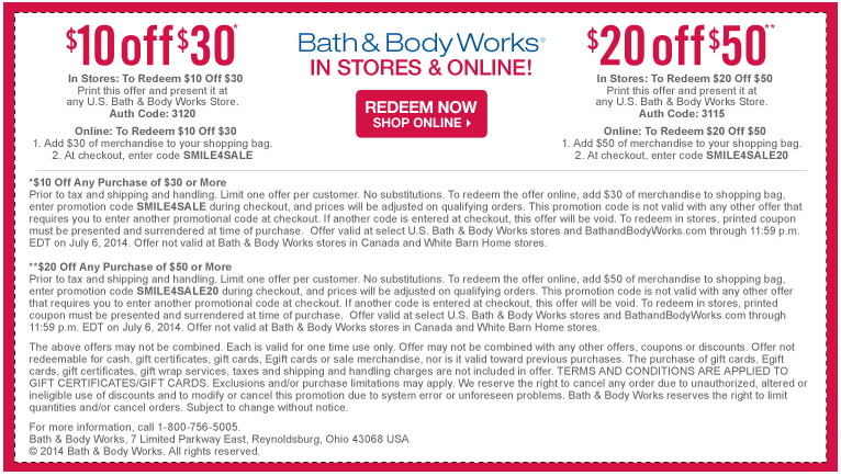 Bath & Body Works is a leading retailer in fragranced beauty and home products that has charmed the nation since its founding in Apply Bath & Body Works coupons to its selection of body and bath items such as body lotion, shower gel, and perfume, home fragrance and candles, anti-bacterial products, spa and skin care, and gifts.