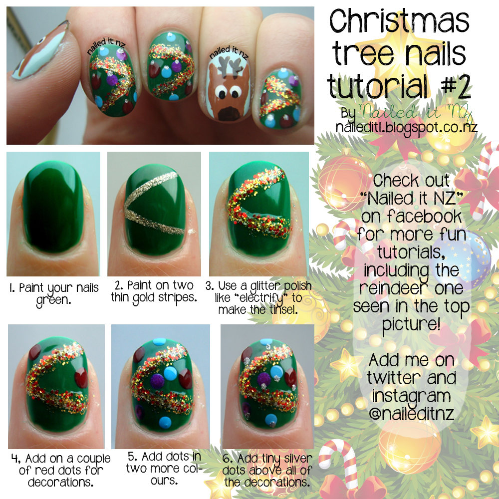 Christmas Nail Art Tutorial Gingerbread Galore: Christmas Tree Nail Art Tutorial