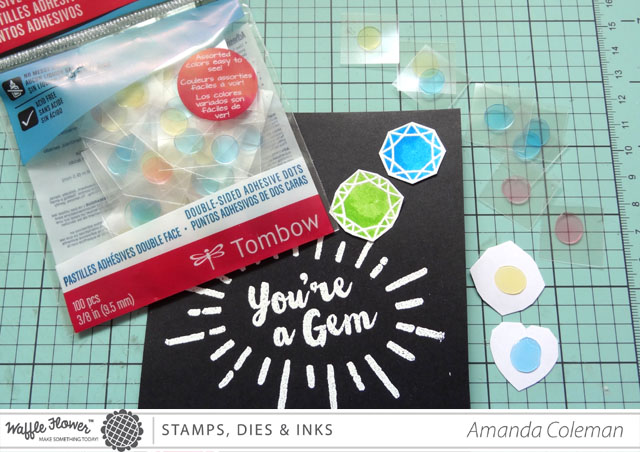 Rainbow colored gem card | amandacolemandesigns.com
