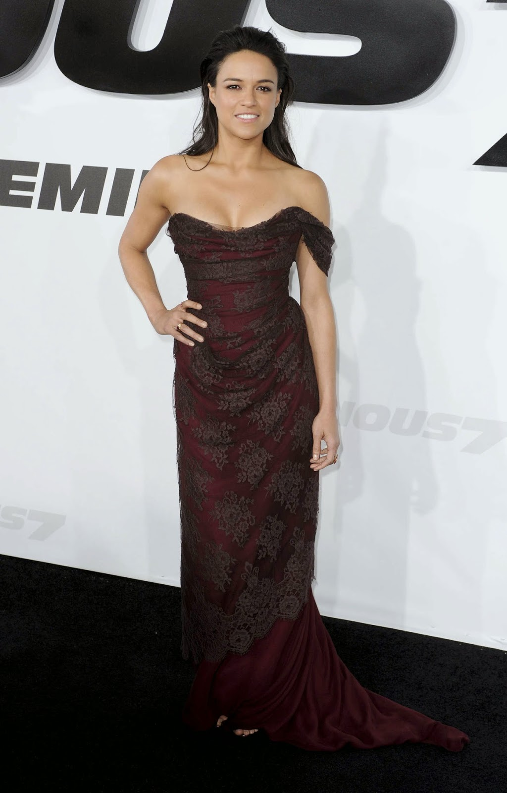 Michelle Rodriguez in an off shoulder dress at the 'Furious 7' premiere in LA