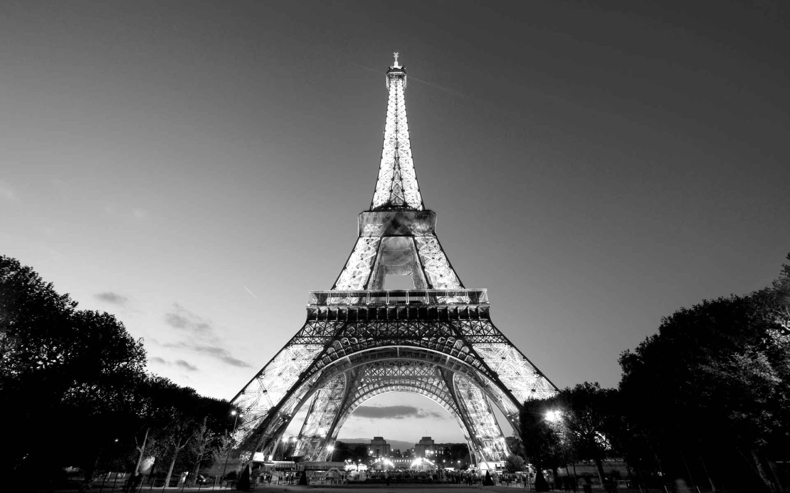 Eiffel Tower black and white Photo