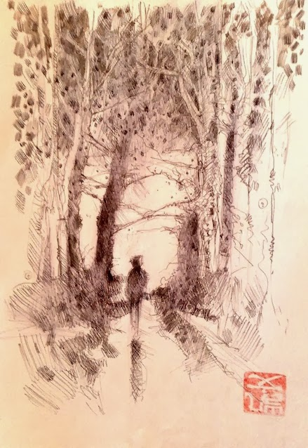 Ink sketch of a woodland scene by kevin gough