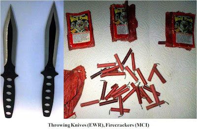 Knives and fireworks.