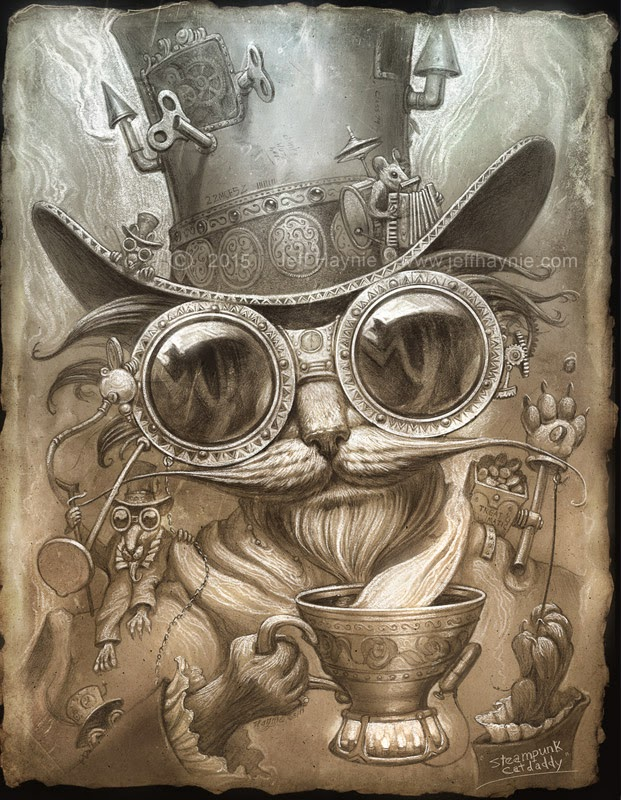 01-Steampunk-Jeff-Haynie-Cats in Drawings-Paintings-and-Jewelry-www-designstack-co