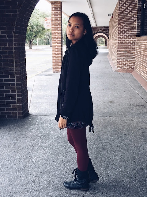 patterned romper, maroon tights, romper and tights, winter outfits, Lauren Banawa