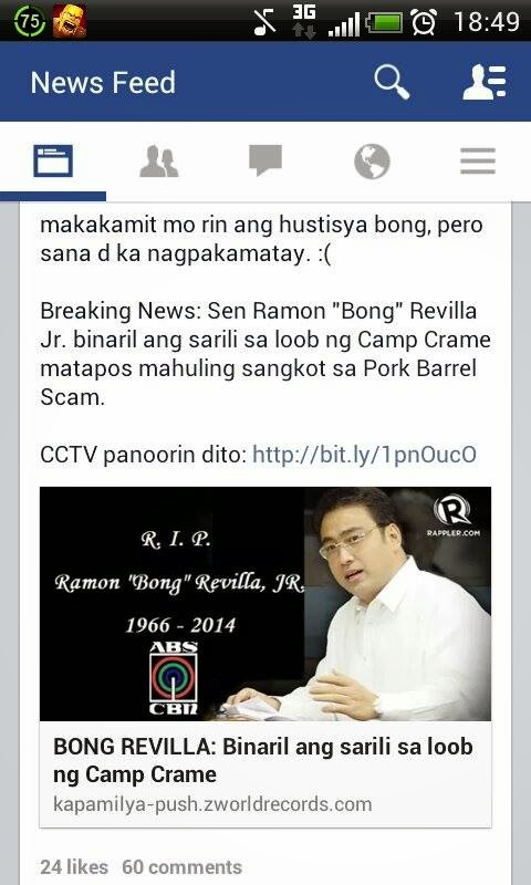 Bong Revilla suicide hoax, fake news
