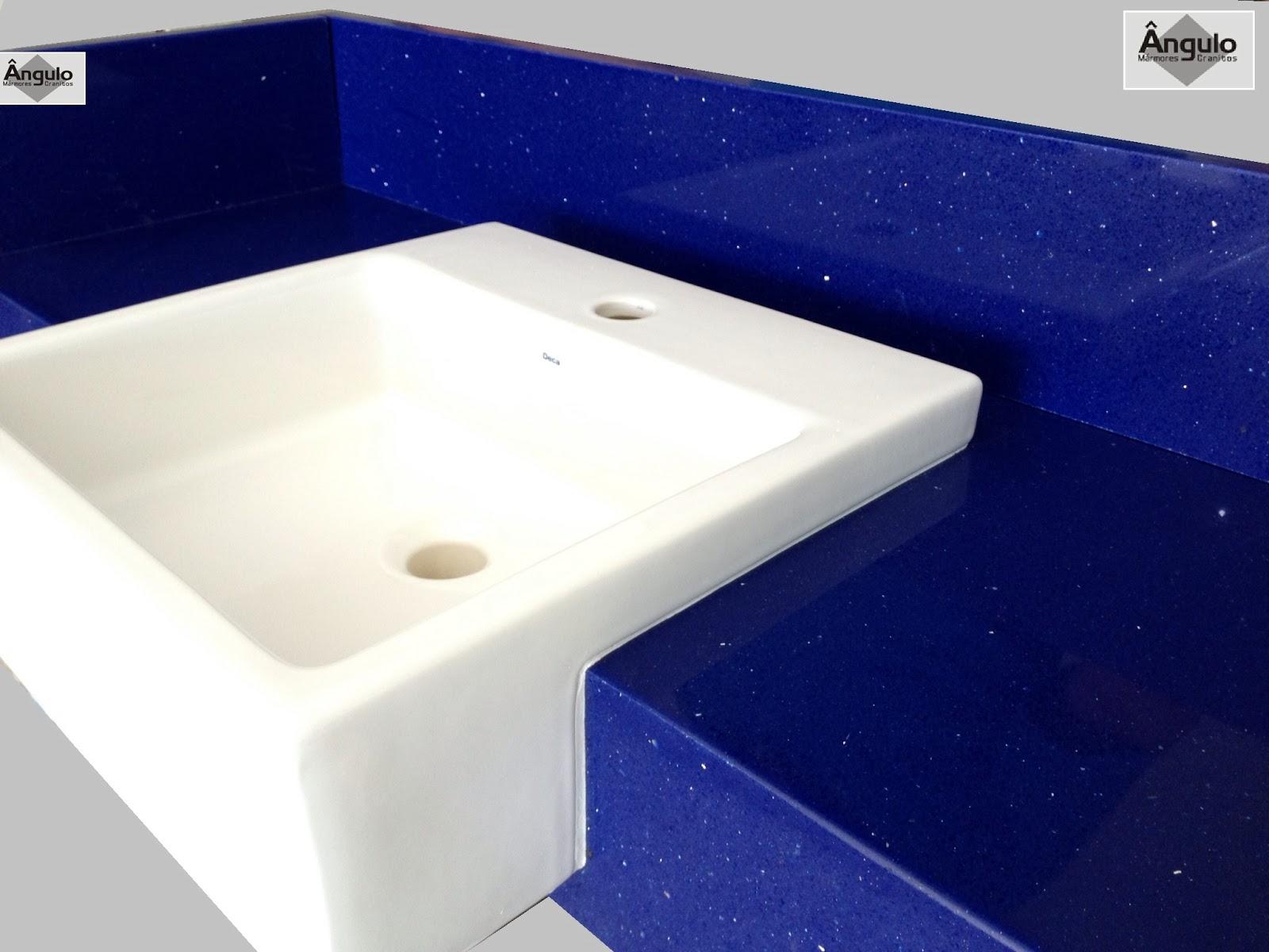 Ângulo Mármores e Granitos: Silestone Azul Stellar #050A43 1600x1200 Bancada Banheiro Azul