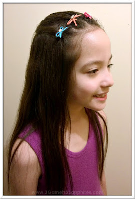 Easy #StraightAStyle hairstyle for back-to-school - Crown of mini bow elastics with crystals