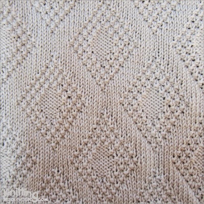 Knitting Stitches Moss Instructions : Moss Bordered Diamonds Knitting Stitch Patterns