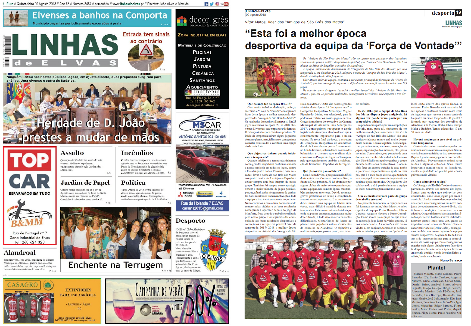 GRANDE ENTREVISTA NO JORNAL «LINHAS DE ELVAS» SOBRE OS «AMIGOS DE SÃO BRÁS DOS MATOS».