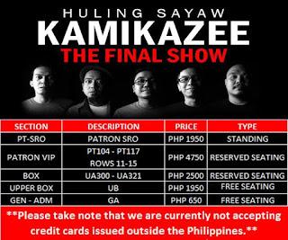 Kamikazee Huling Sayaw Concert Ticket Price
