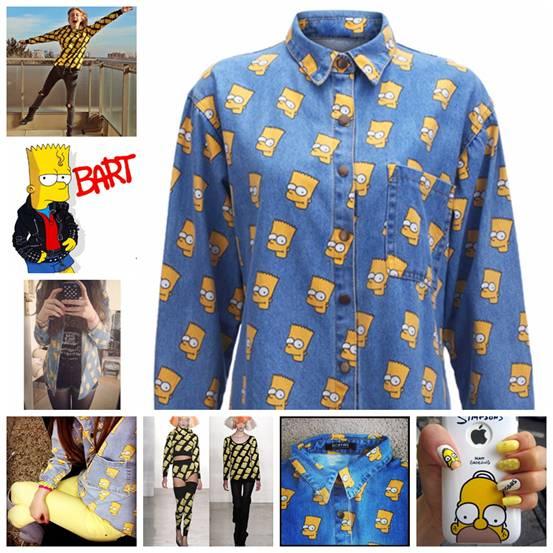romwe, street style, Simpson Light Blue Shirt