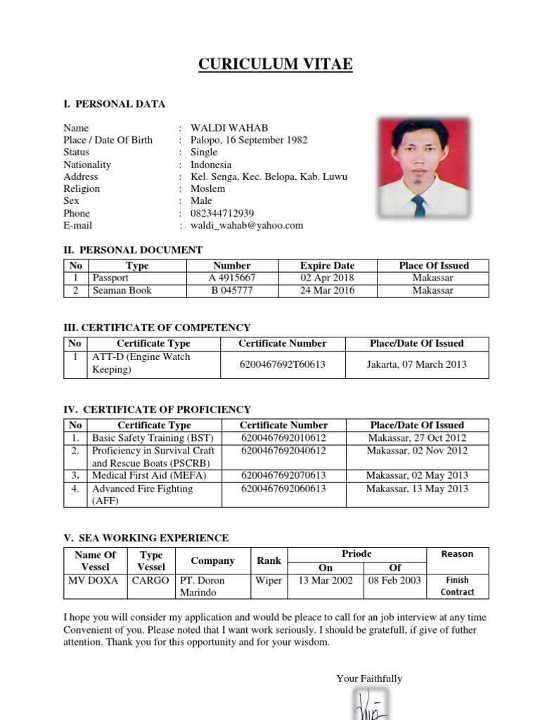 amazing contoh resume offshore photos simple resume office